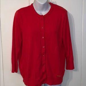 Ellen Tracy orange/red thin cardigan sweater